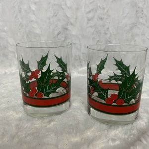 Libbey Vintage Holly & Berries Christmas Holiday